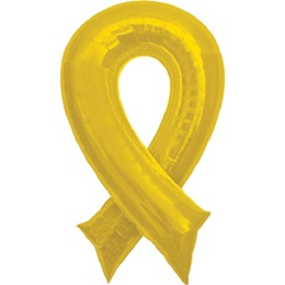 Yellow Ribbon-Shaped Foil Balloon