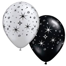 Silver and Black Sparkle Latex Balloons - 50/pkg