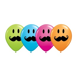 Smiley Mustache Latex Balloons - 25 pack