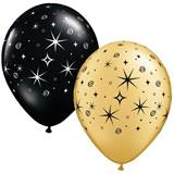 Gold and Black Sparkle Swirls Latex Balloons