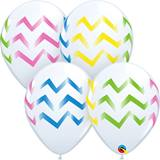 White with Chevrons Latex Balloons