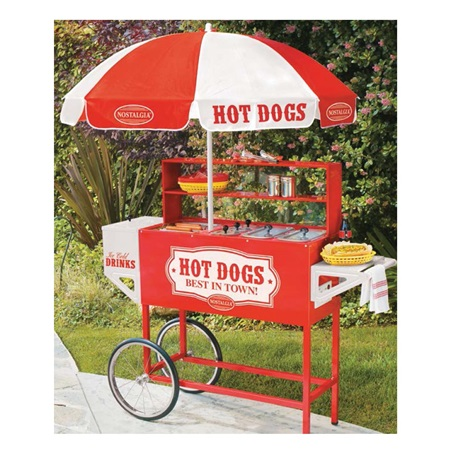 Old Fashioned Hot Dog Vending Cart With Umbrella