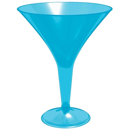8 oz Blue Plastic Martini Glasses