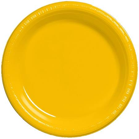 "Plastic Banquet Plates 10-1/4"" - School Bus Yellow"