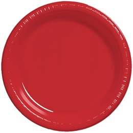 "Plastic Banquet Plates 10-1/4"" - Red"