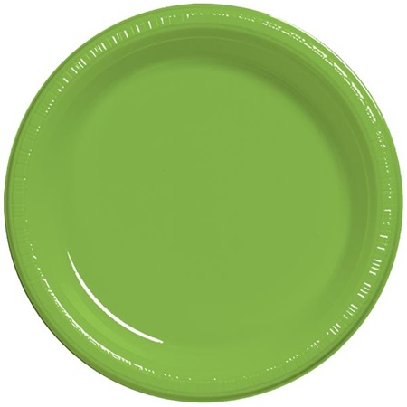 "Plastic Banquet Plates 10-1/4"" - Lime Green"