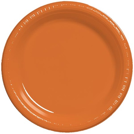 "Plastic Banquet Plates 10-1/4"" - Sunkissed Orange"