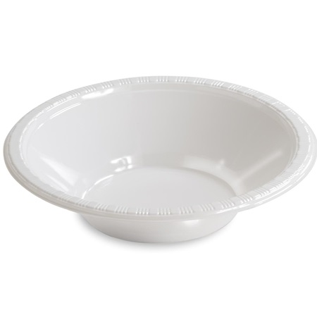 Solid Color Plastic Bowls, 12 oz. - White