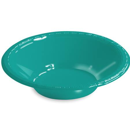 Solid Color Plastic Bowls, 12 oz. - Teal