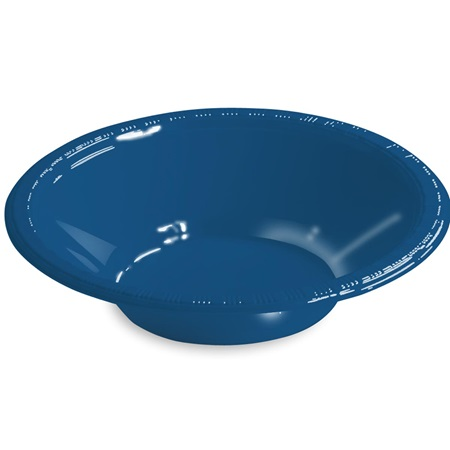 Solid Color Plastic Bowls, 12 oz. - Navy Blue