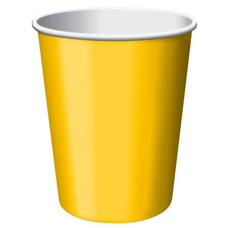 9oz Solid Color Cups - School Bus Yellow