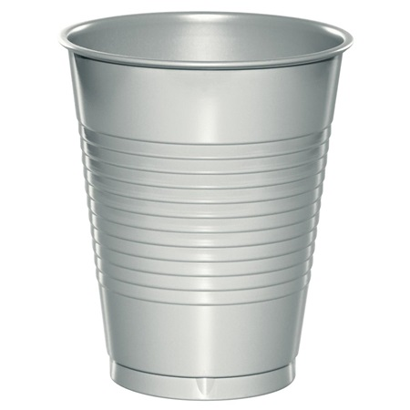 Plastic Cups 16oz - Shimmering Silver