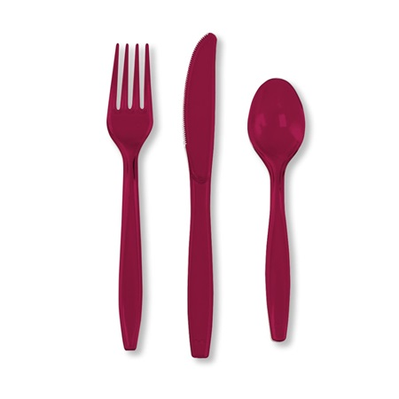 Burgundy Plastic Cutlery Pack, 24-Piece
