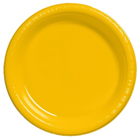 "Plastic Dinner Plates 9"" - School Bus Yellow"