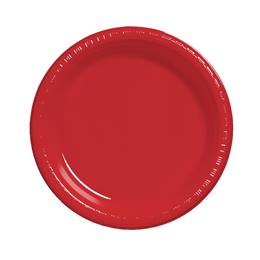 "Plastic Luncheon Plates 7"" - Real Red"