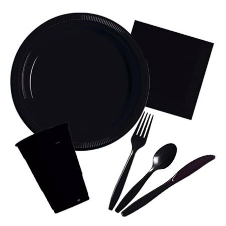 Plastic Party Pack in Black