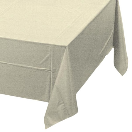 Ivory Solid Color Polyvinyl Table Cover