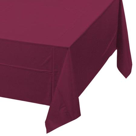 Burgundy Solid Color Polyvinyl Table Cover