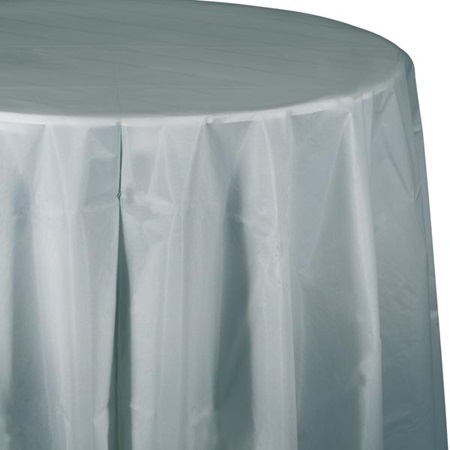Shimmering Silver Solid Color Polyvinyl Table Cover