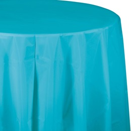 Bermuda BlueSolid Color Polyvinyl Round Table Cover
