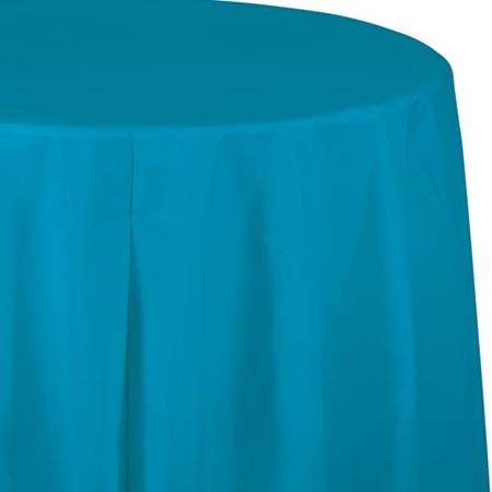 Turquoise Solid Color Polyvinyl Table Cover