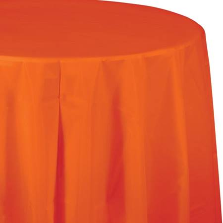 Sunkissed Orange Solid Color Polyvinyl Table Cover