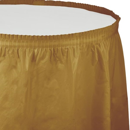 Solid Color Polyvinyl Table Skirt - Glittering Gold