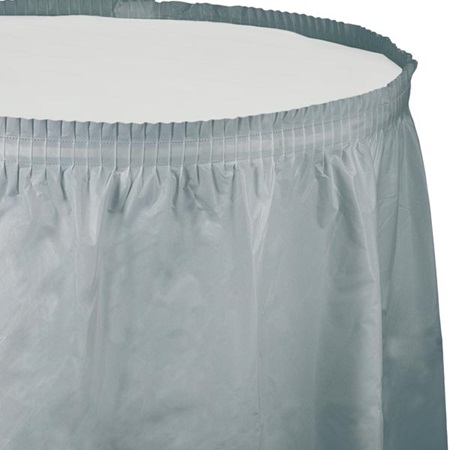 Solid Color Polyvinyl Table Skirt - Shimmering Silver