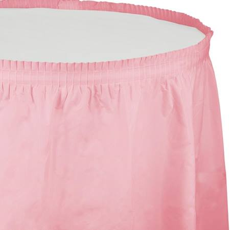 Solid Color Polyvinyl Table Skirt - Classic Pink