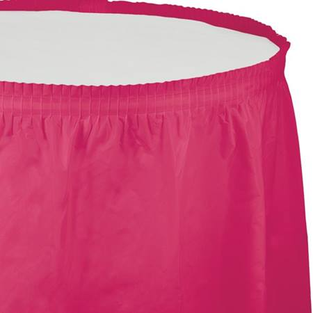 Solid Color Polyvinyl Table Skirt - Hot Magenta