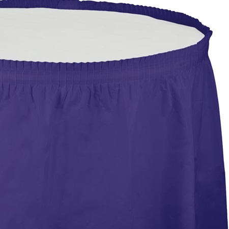 Solid Color Polyvinyl Table Skirt - Purple
