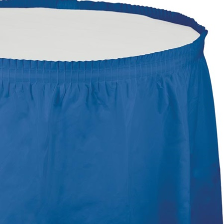 Solid Color Polyvinyl Table Skirt - True Blue