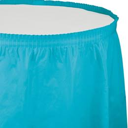 Solid Color Polyvinyl Table Skirt - Bermuda Blue