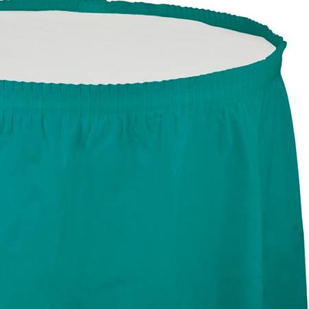 Solid Color Polyvinyl Table Skirt - Teal