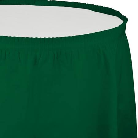 Solid Color Polyvinyl Table Skirt - Hunter Green