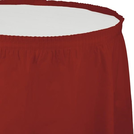 Solid Color Polyvinyl Table Skirt - Brick