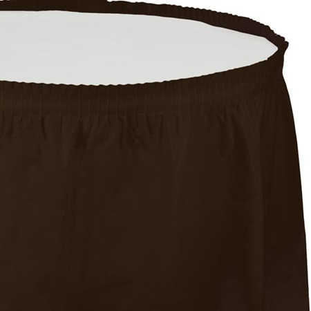Solid Color Polyvinyl Table Skirt - Chocolate