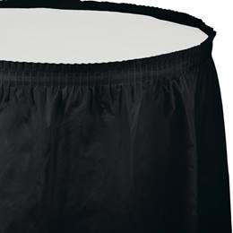 Solid Color Polyvinyl Table Skirt - Black Velvet