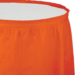 Solid Color Polyvinyl Table Skirt - Sunkissed Orange
