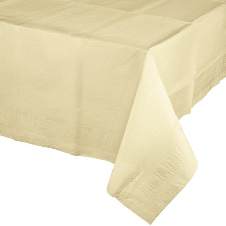 Poly Lined Tissue Tablecover - Ivory