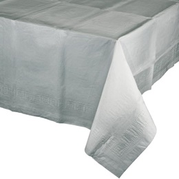 Poly Lined Tissue Tablecover - Shimmering Silver