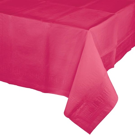 Poly Lined Tissue Tablecover - Hot Magenta