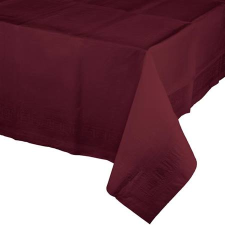 Poly Lined Tissue Tablecover - Burgundy