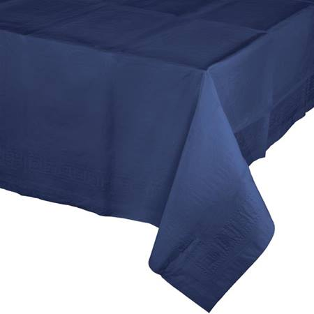 Poly Lined Tissue Tablecover - Navy Blue