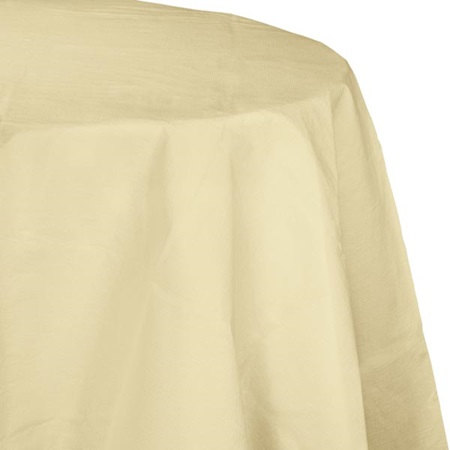 Poly Lined Tissue Round Tablecover - Ivory
