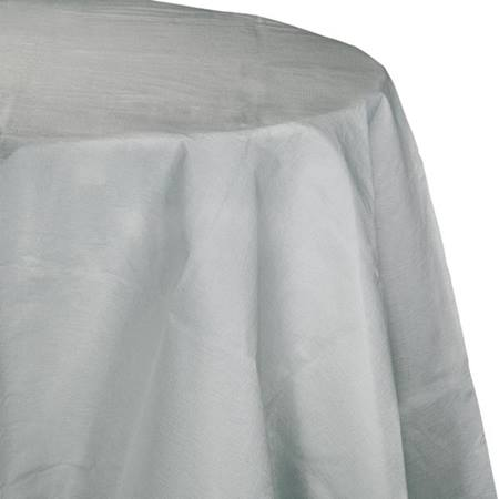 Poly Lined Tissue Round Tablecover - Shimmering Silver