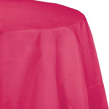 Poly Lined Tissue Round Tablecover - Hot Magenta
