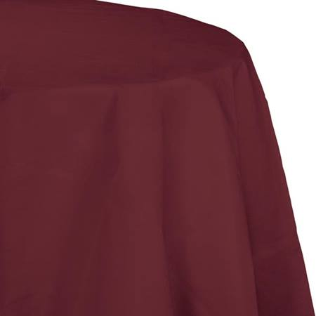 Poly Lined Tissue Round Tablecover - Burgundy