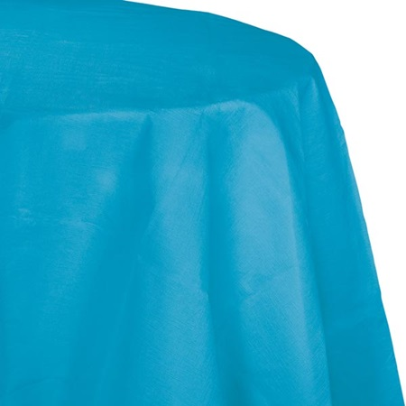 Poly Lined Tissue Round Tablecover - Turquoise