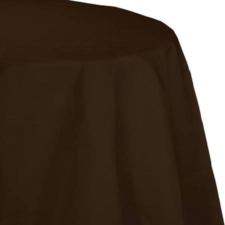 Poly Lined Tissue Round Tablecover - Chocolate